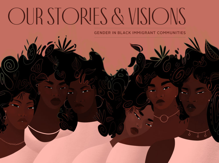 An illustration of six Black women and femmes wearing neutral clothing. The background is also neutral. They are split into two groups of three. Each unit is gently resting/leaning on each other and staring outwards. They all share one afro which is defined by floral patterns. Their faces and skin tones represent the diversity of Black women and femmes in the diaspora. Their pose is inspired by the integral structures of care that have been created by Black women and femmes — structures which are also examined in this report.