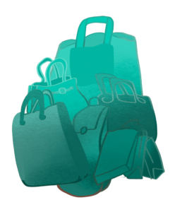 An illustration of several pieces of turquoise-colored luggage.
