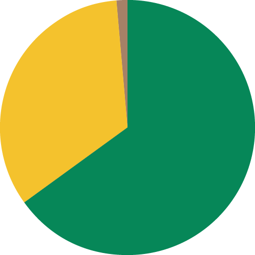 Pie chart representing the percentage of participants who have experienced sexual assault or harassment